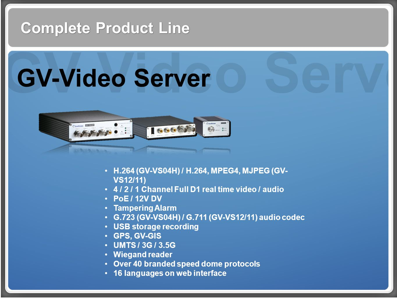 GV Video Server GV-Video Server Complete Product Line