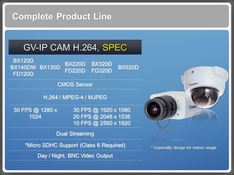 Complete Product Line GV-IP CAM H.264, SPEC BX120D BX140DW FD120D