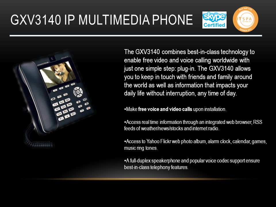 Gxv3140 ip multimedia phone
