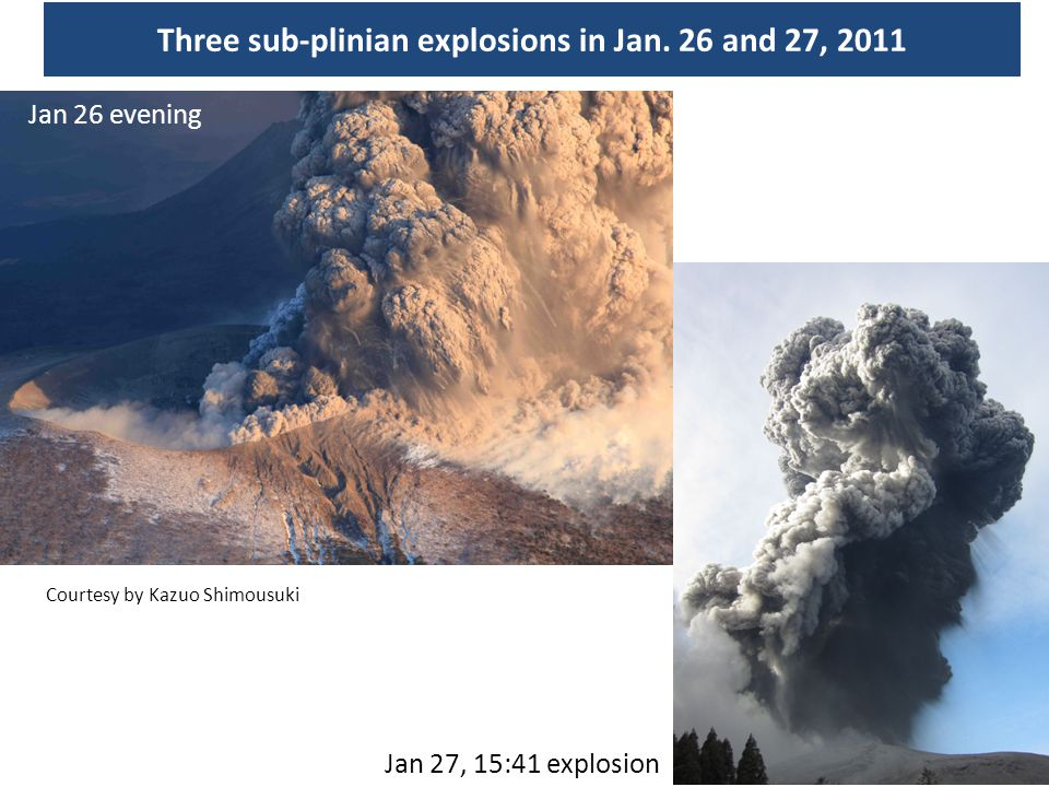 Three sub-plinian explosions in Jan. 26 and 27, 2011