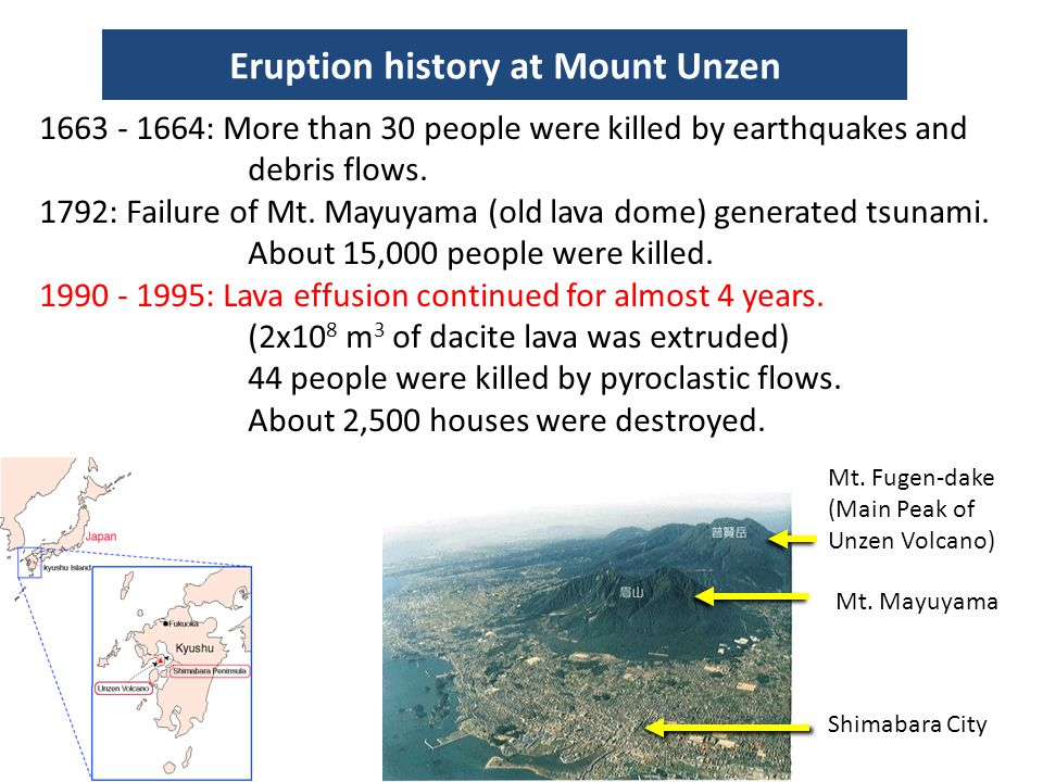 Eruption history at Mount Unzen
