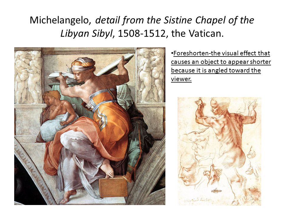 Michelangelo, detail from the Sistine Chapel of the Libyan Sibyl, 1508-1512, the Vatican.
