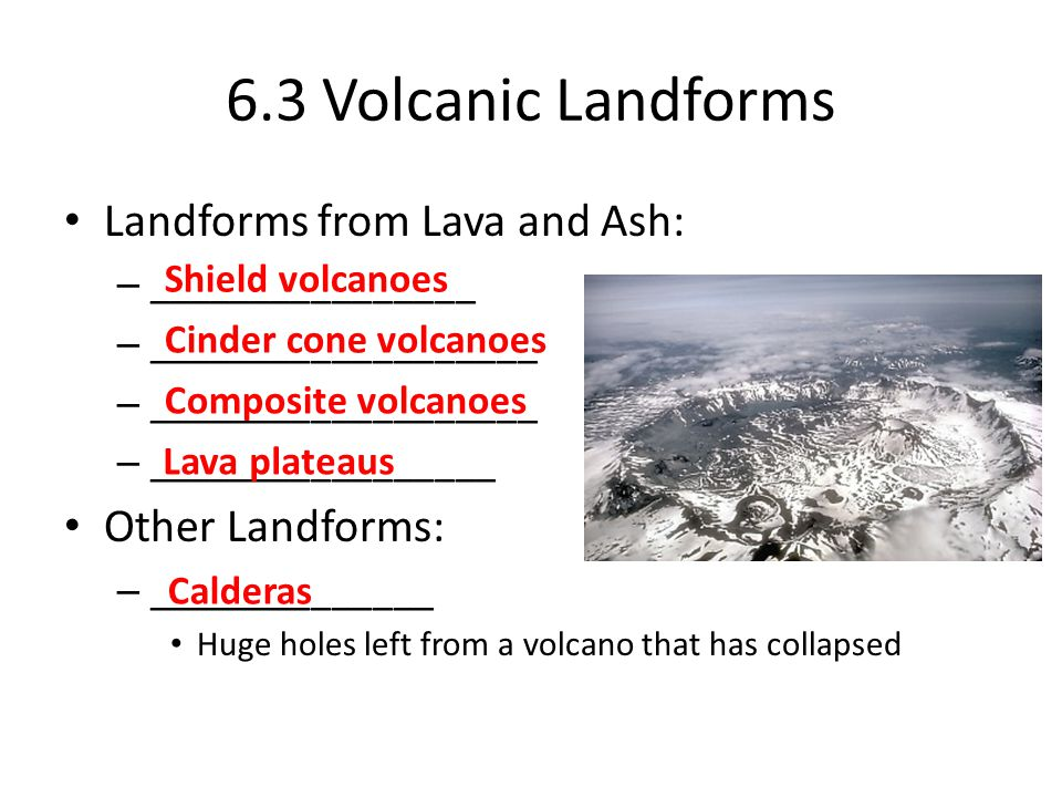 6.3 Volcanic Landforms Landforms from Lava and Ash: Other Landforms: