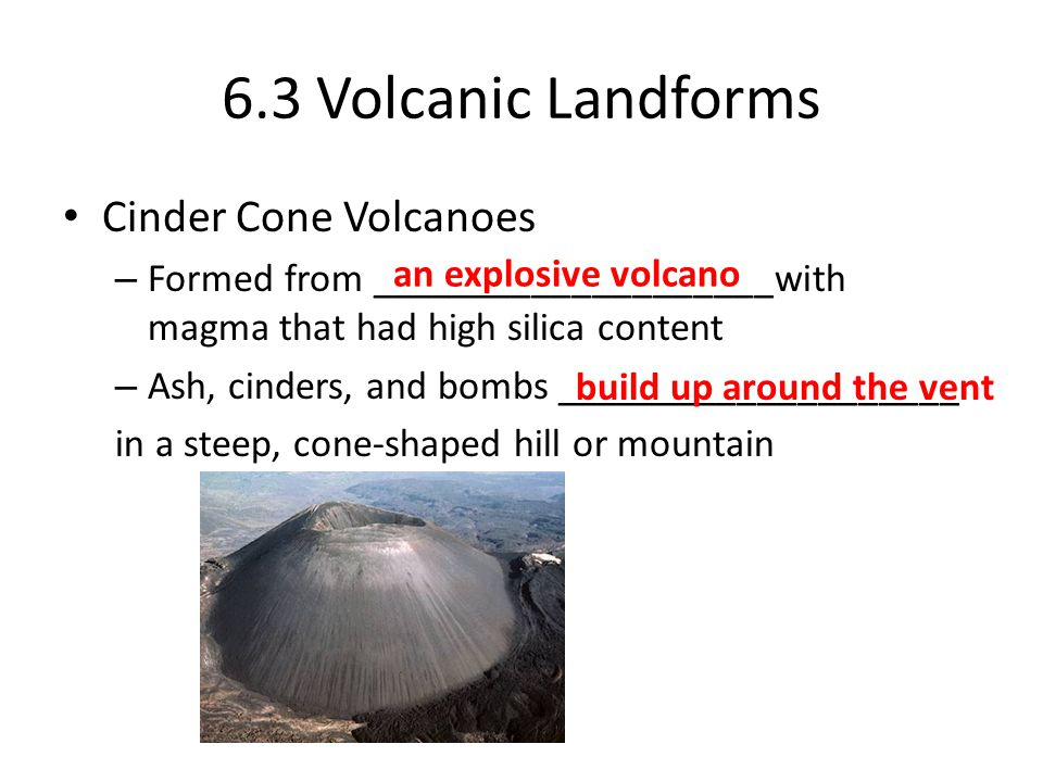 6.3 Volcanic Landforms Cinder Cone Volcanoes