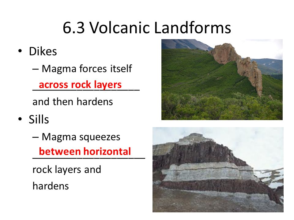 6.3 Volcanic Landforms Dikes Sills Magma forces itself