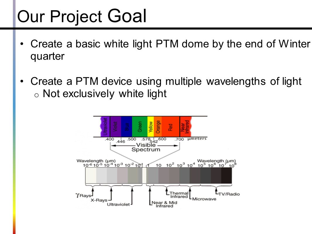 Our Project Goal Create a basic white light PTM dome by the end of Winter quarter. Create a PTM device using multiple wavelengths of light