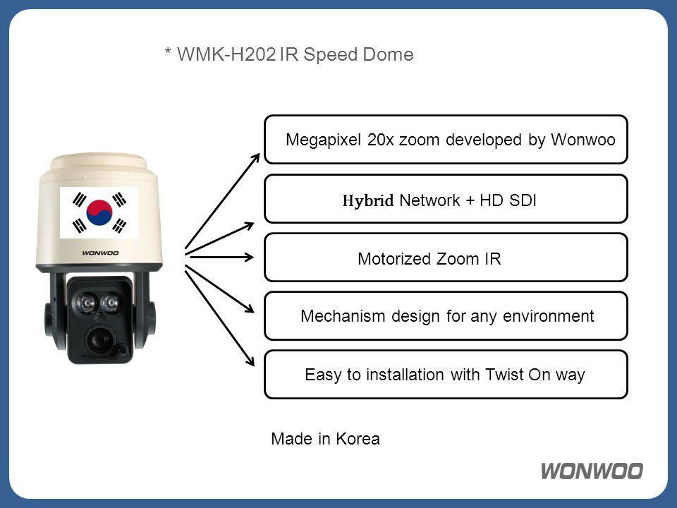 * WMK-H202 IR Speed Dome Megapixel 20x zoom developed by Wonwoo