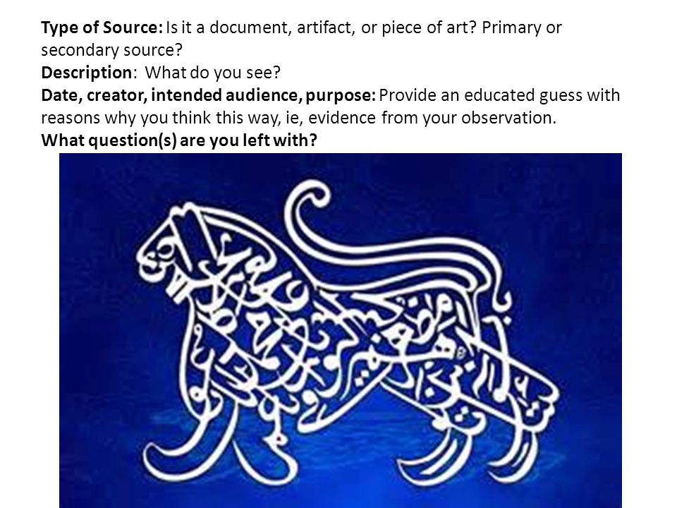 Type of Source: Is it a document, artifact, or piece of art