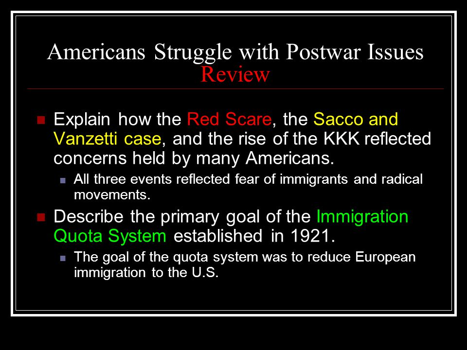 Americans Struggle with Postwar Issues Review