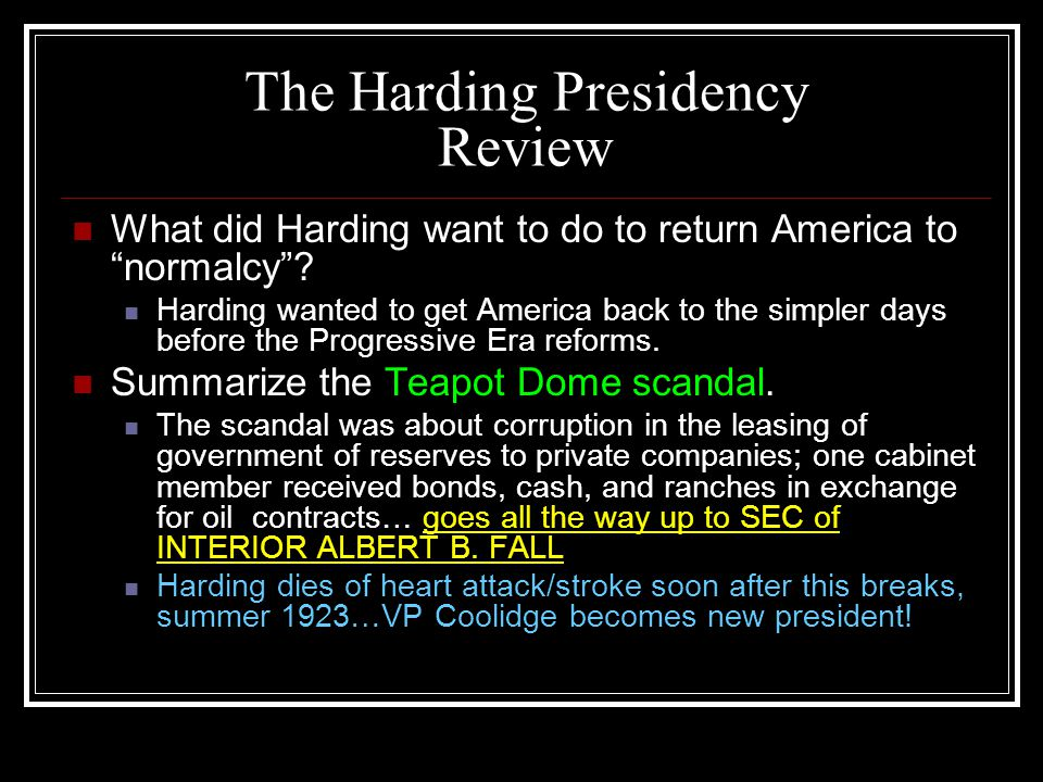 The Harding Presidency Review