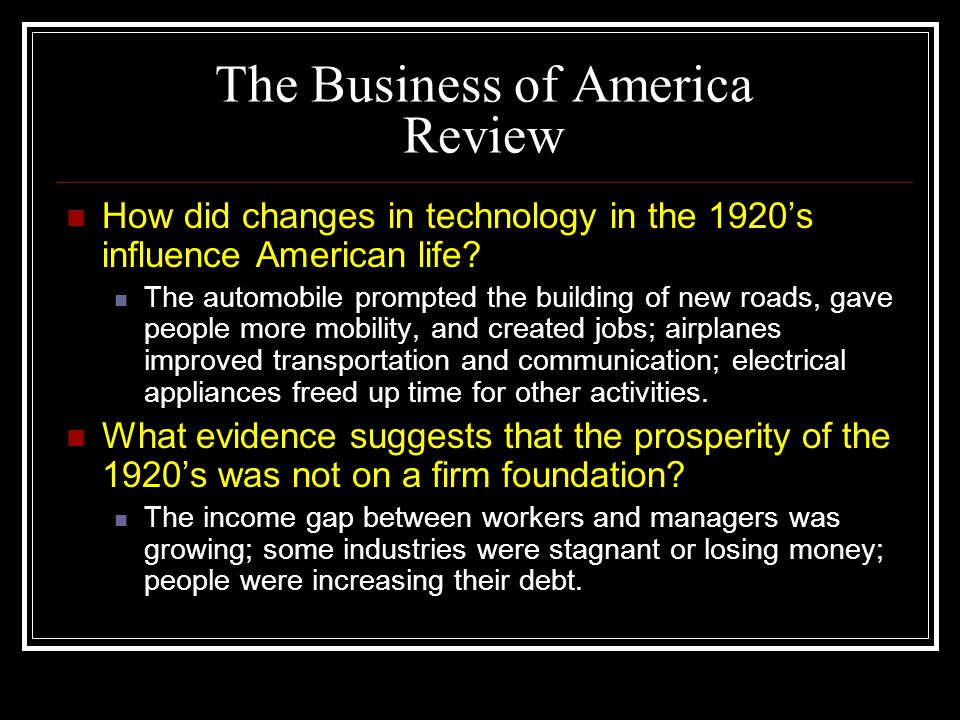 The Business of America Review
