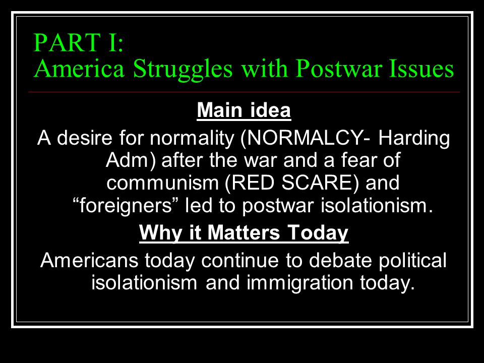 PART I: America Struggles with Postwar Issues