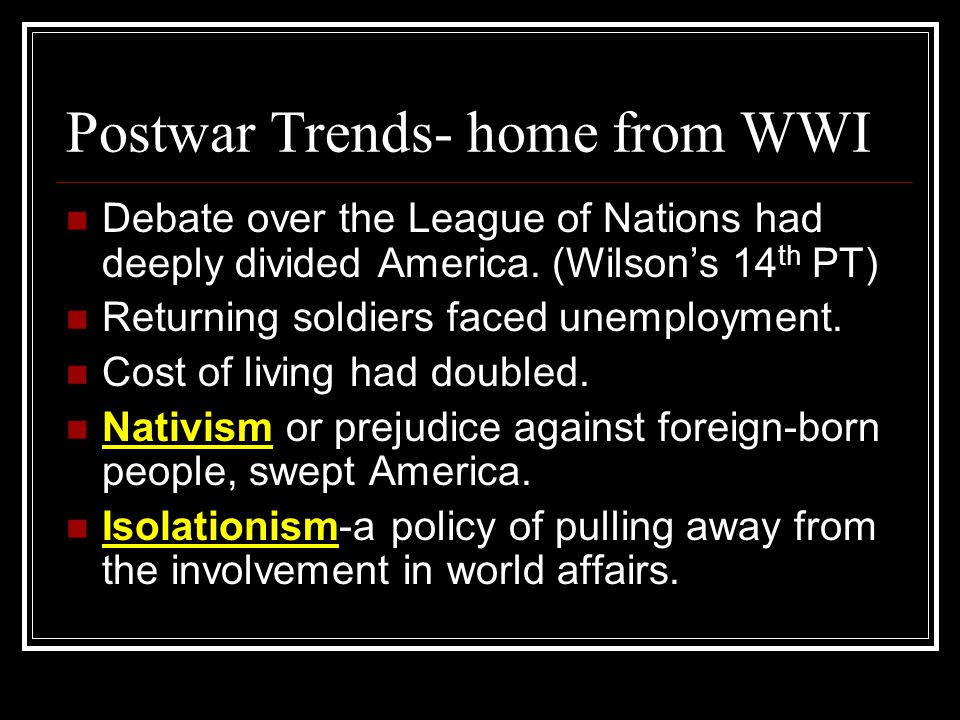 Postwar Trends- home from WWI