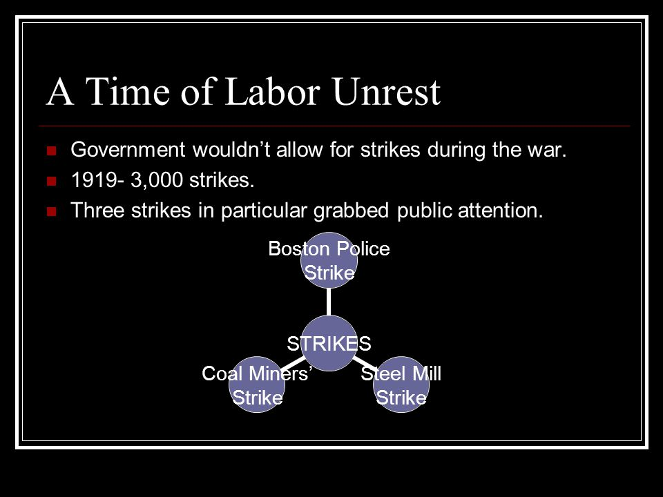 A Time of Labor Unrest Government wouldn't allow for strikes during the war. 1919- 3,000 strikes.