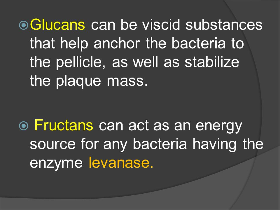 Glucans can be viscid substances that help anchor the bacteria to the pellicle, as well as stabilize the plaque mass.