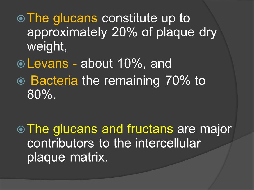 The glucans constitute up to approximately 20% of plaque dry weight,