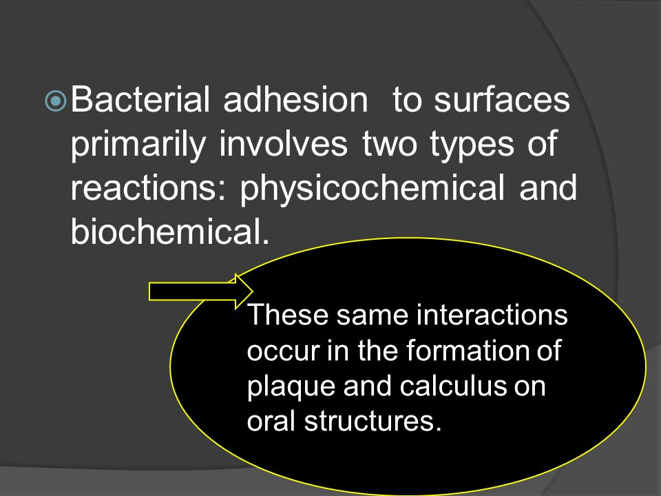 Bacterial adhesion to surfaces primarily involves two types of reactions: physicochemical and biochemical.