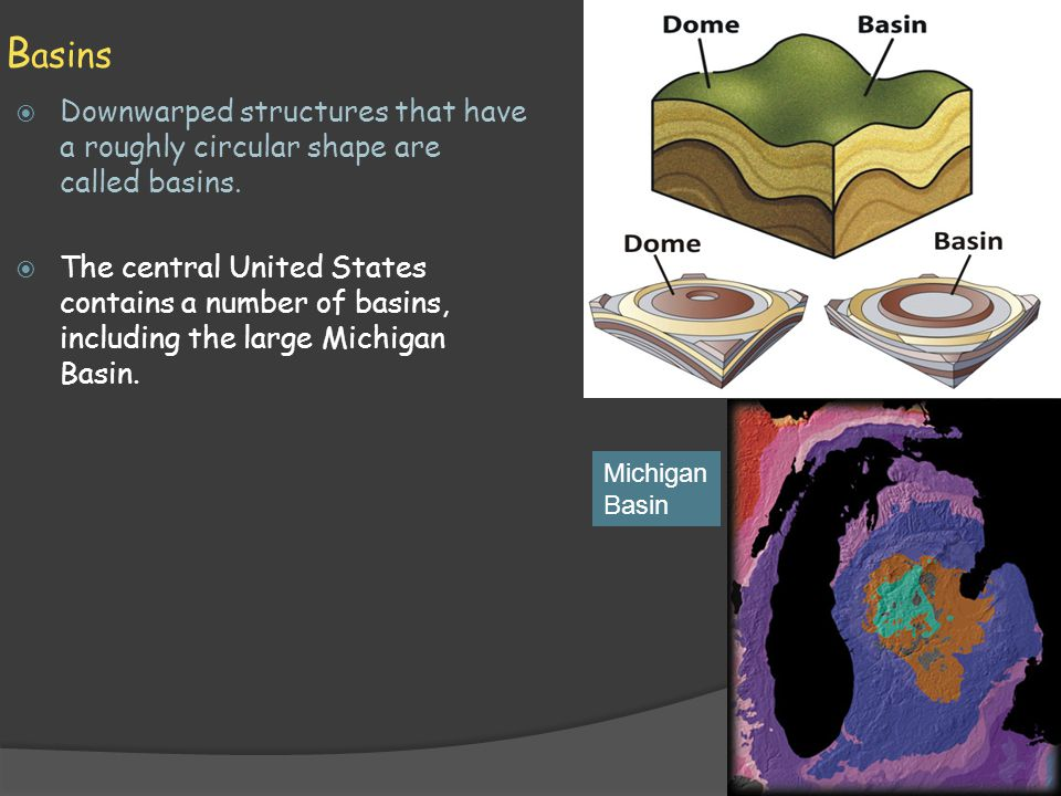 Basins Downwarped structures that have a roughly circular shape are called basins.