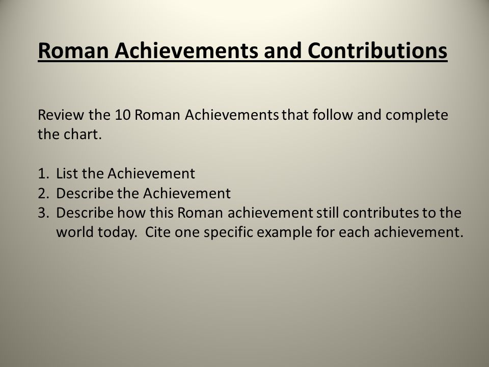 Roman Achievements and Contributions
