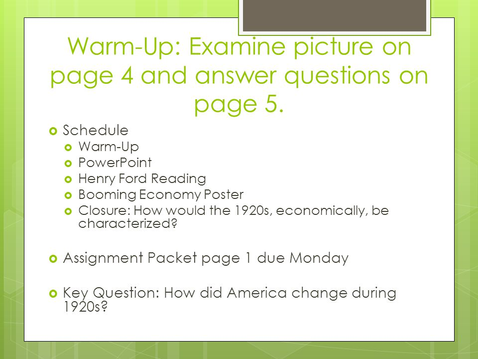 Warm-Up: Examine picture on page 4 and answer questions on page 5.