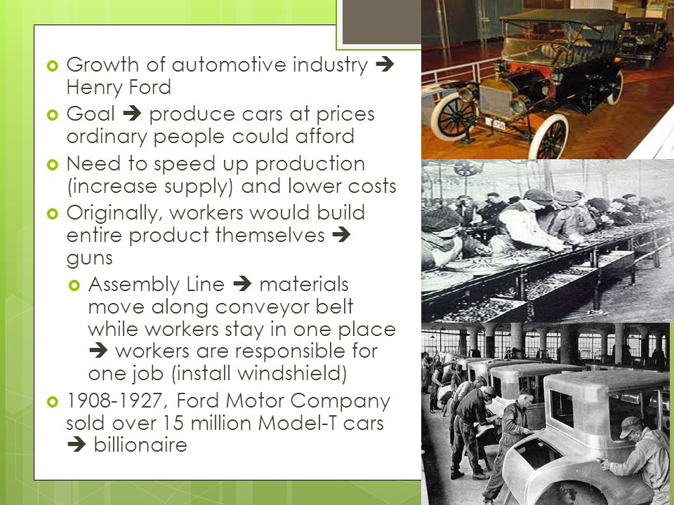 Growth of automotive industry  Henry Ford
