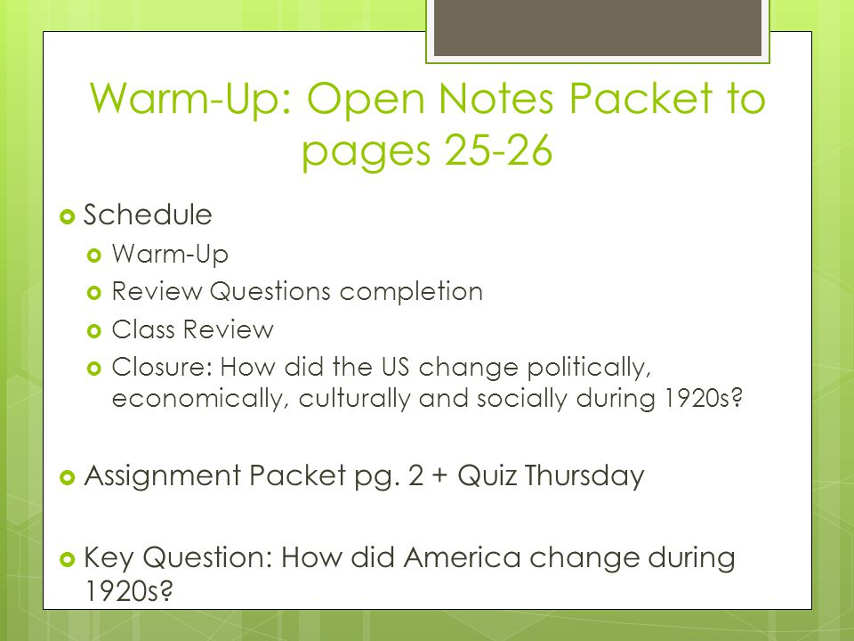 Warm-Up: Open Notes Packet to pages 25-26