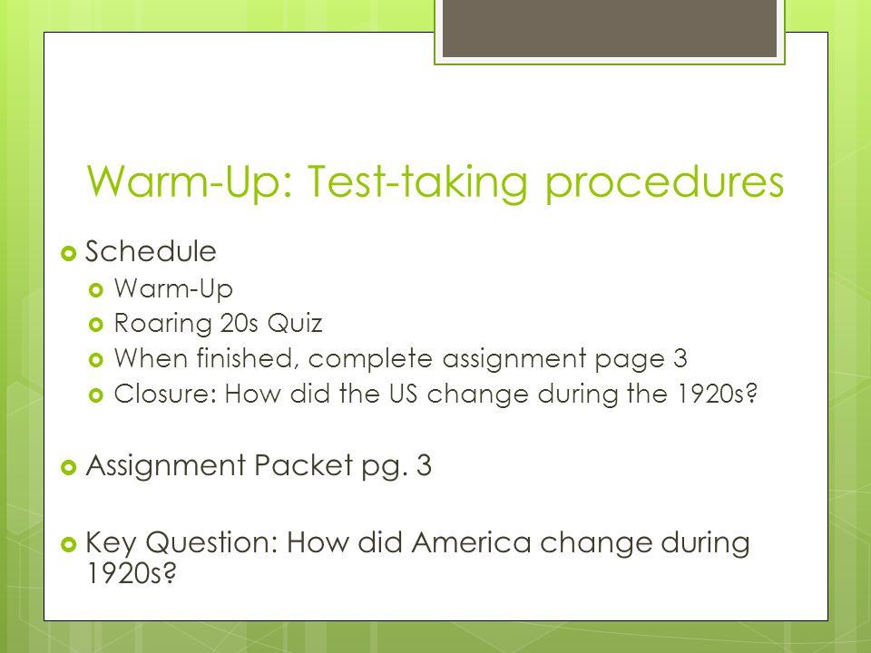 Warm-Up: Test-taking procedures