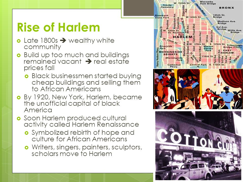 Rise of Harlem Late 1800s  wealthy white community