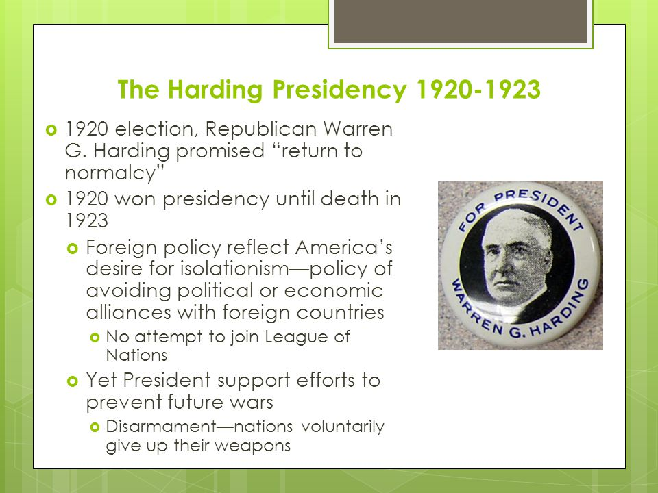The Harding Presidency 1920-1923