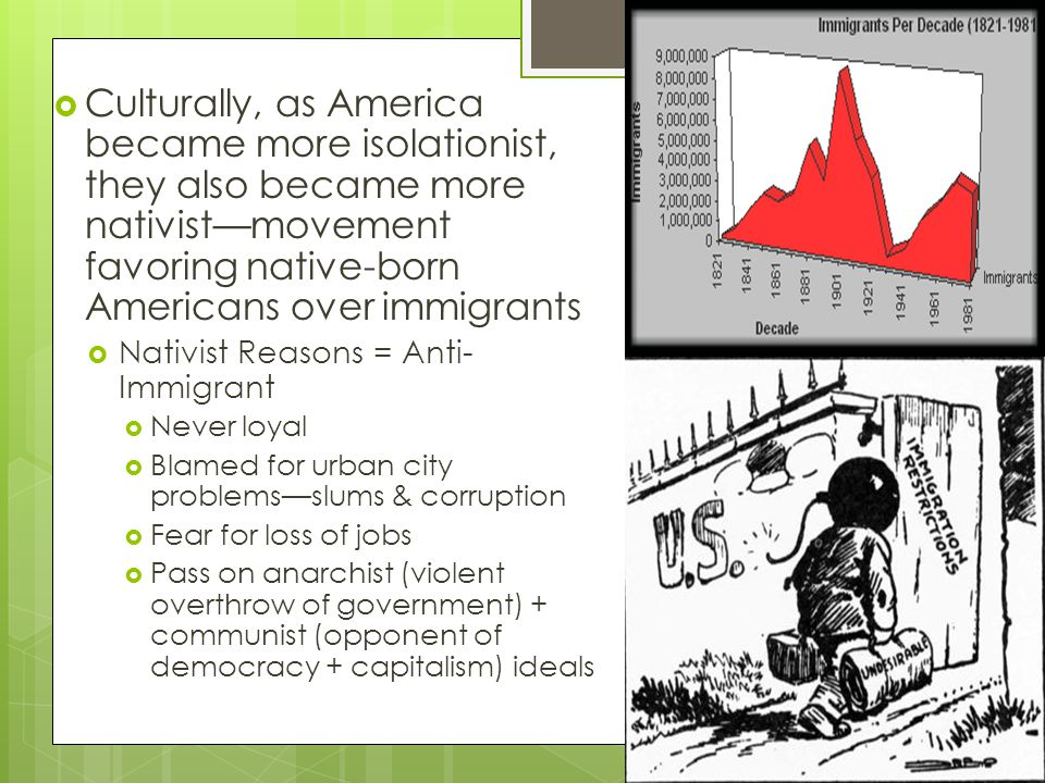 Culturally, as America became more isolationist, they also became more nativist—movement favoring native-born Americans over immigrants