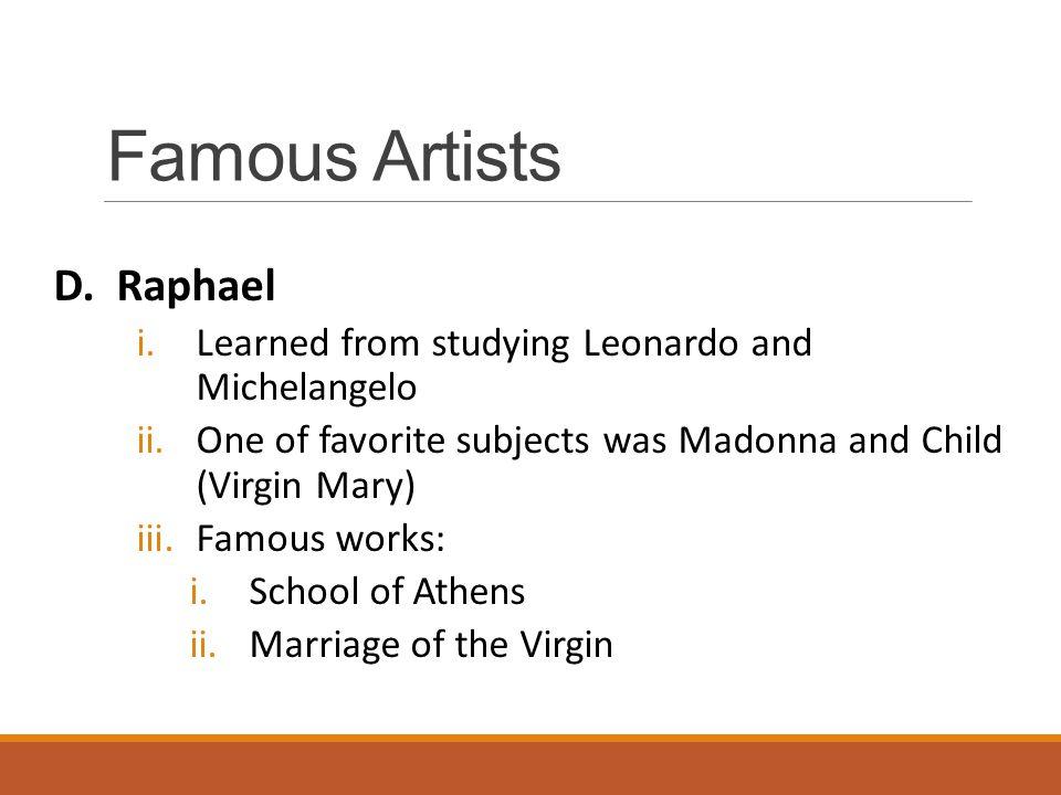 Famous Artists D. Raphael