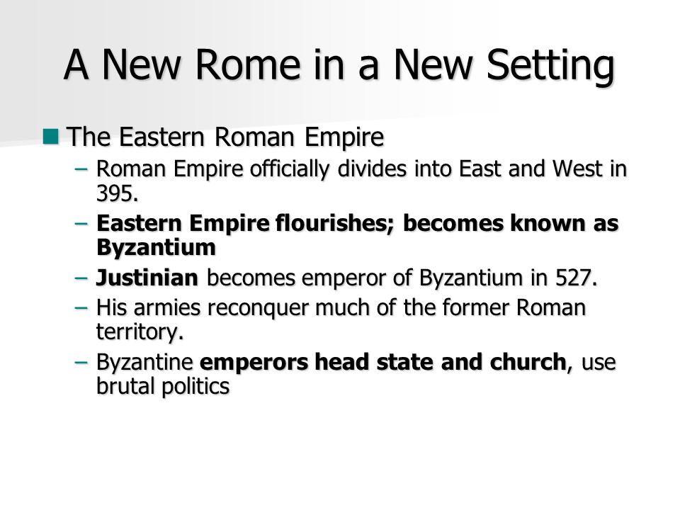 A New Rome in a New Setting