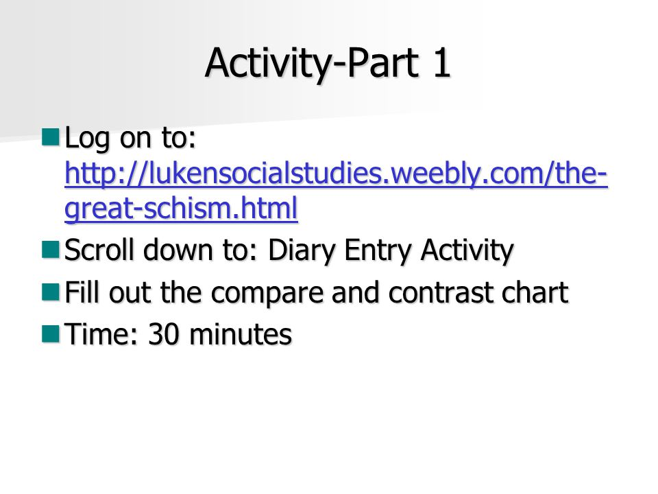 Activity-Part 1 Log on to: http://lukensocialstudies.weebly.com/the-great-schism.html. Scroll down to: Diary Entry Activity.