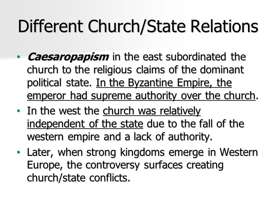 Different Church/State Relations