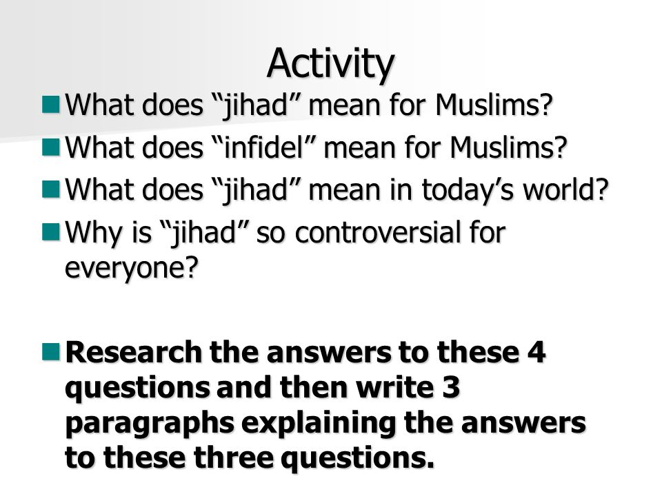 Activity What does jihad mean for Muslims