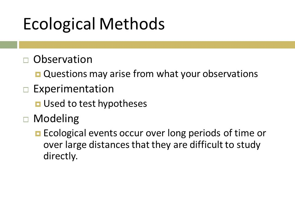 Ecological Methods Observation Experimentation Modeling