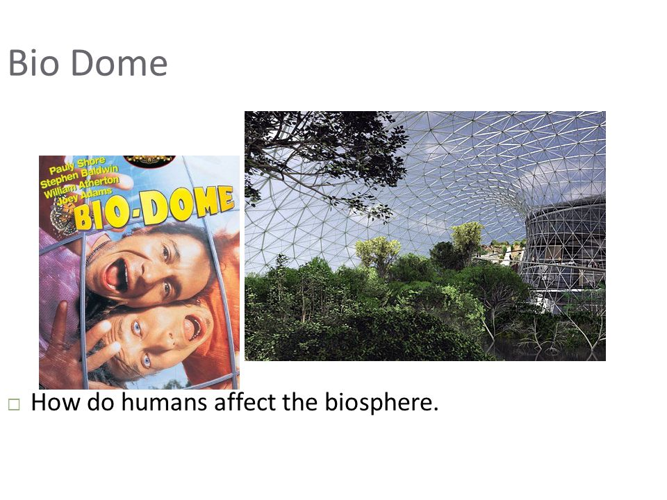 Bio Dome How do humans affect the biosphere.
