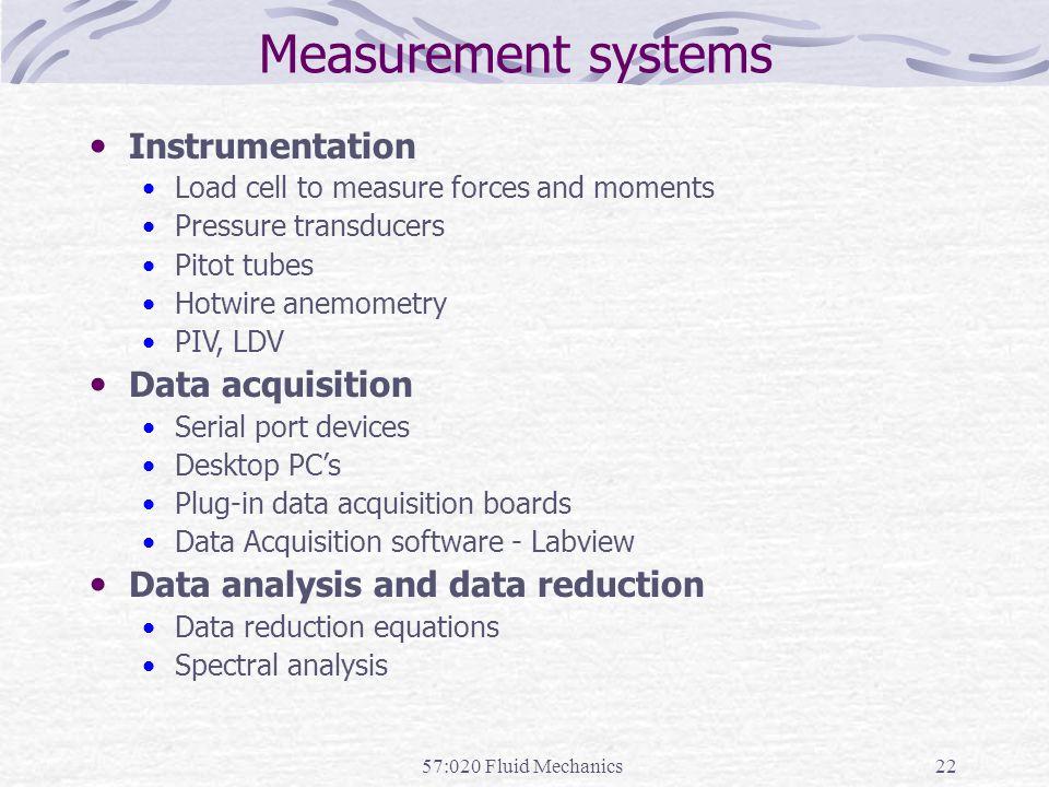 Measurement systems Instrumentation Data acquisition