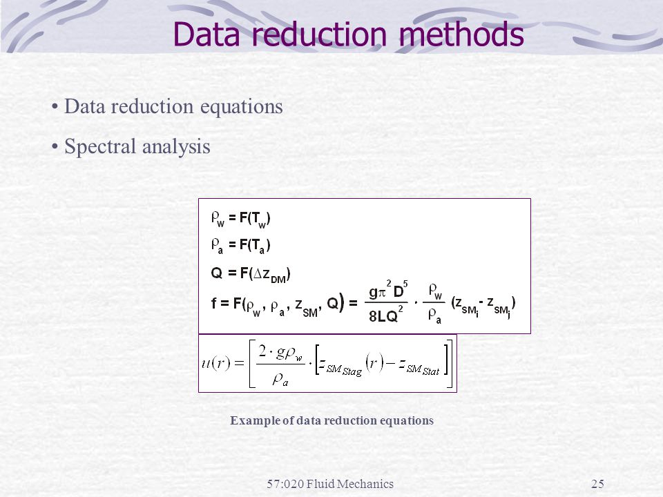 Example of data reduction equations