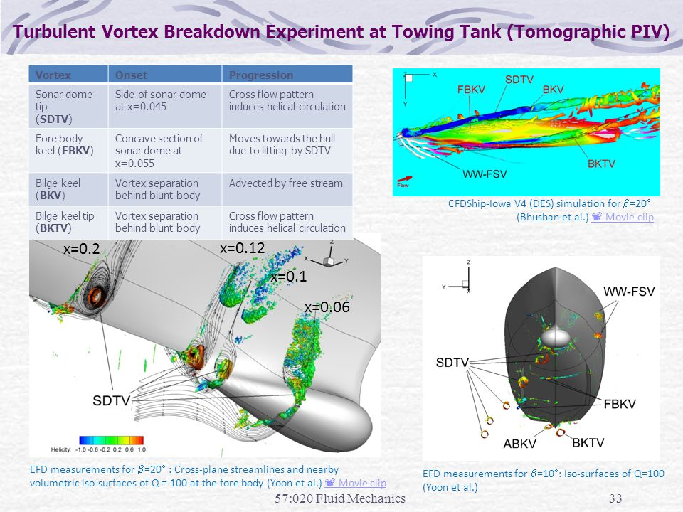 Turbulent Vortex Breakdown Experiment at Towing Tank (Tomographic PIV)