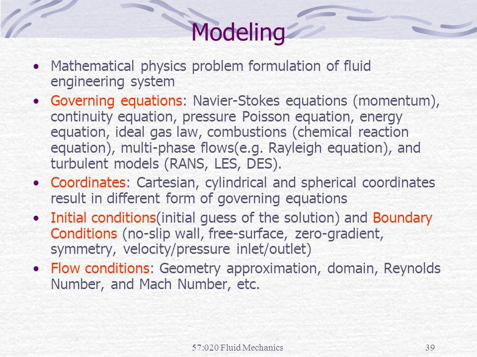 Modeling Mathematical physics problem formulation of fluid engineering system.