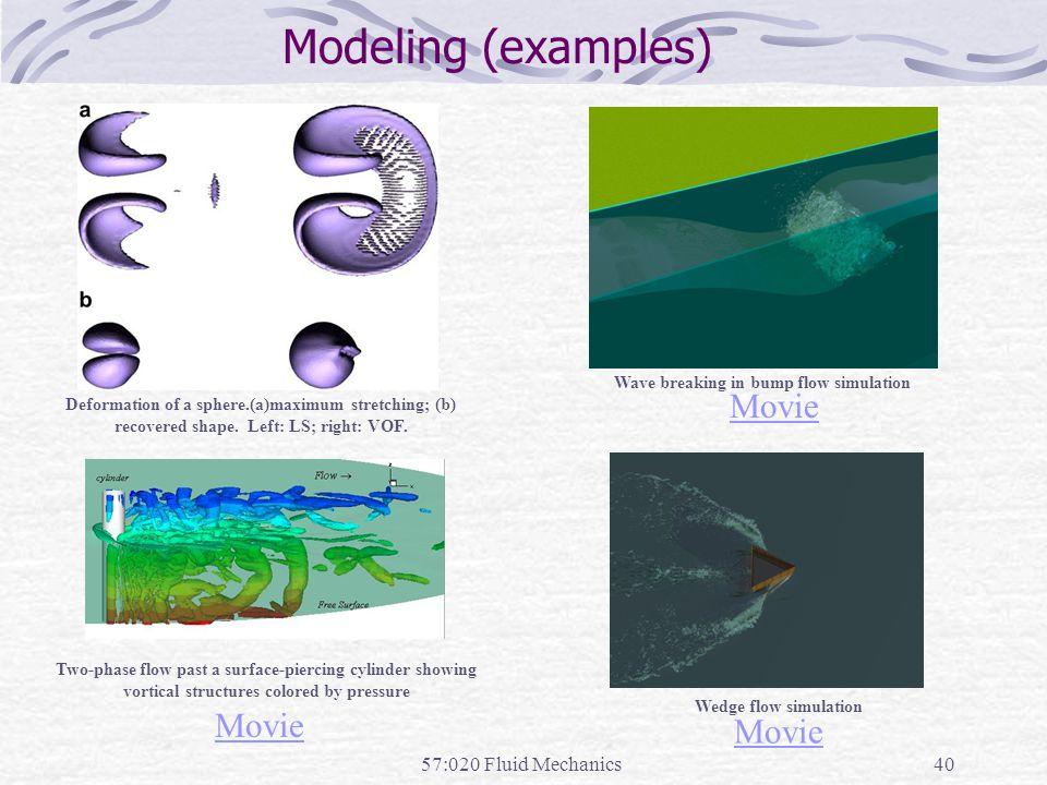 Modeling (examples) Movie Movie Movie 57:020 Fluid Mechanics