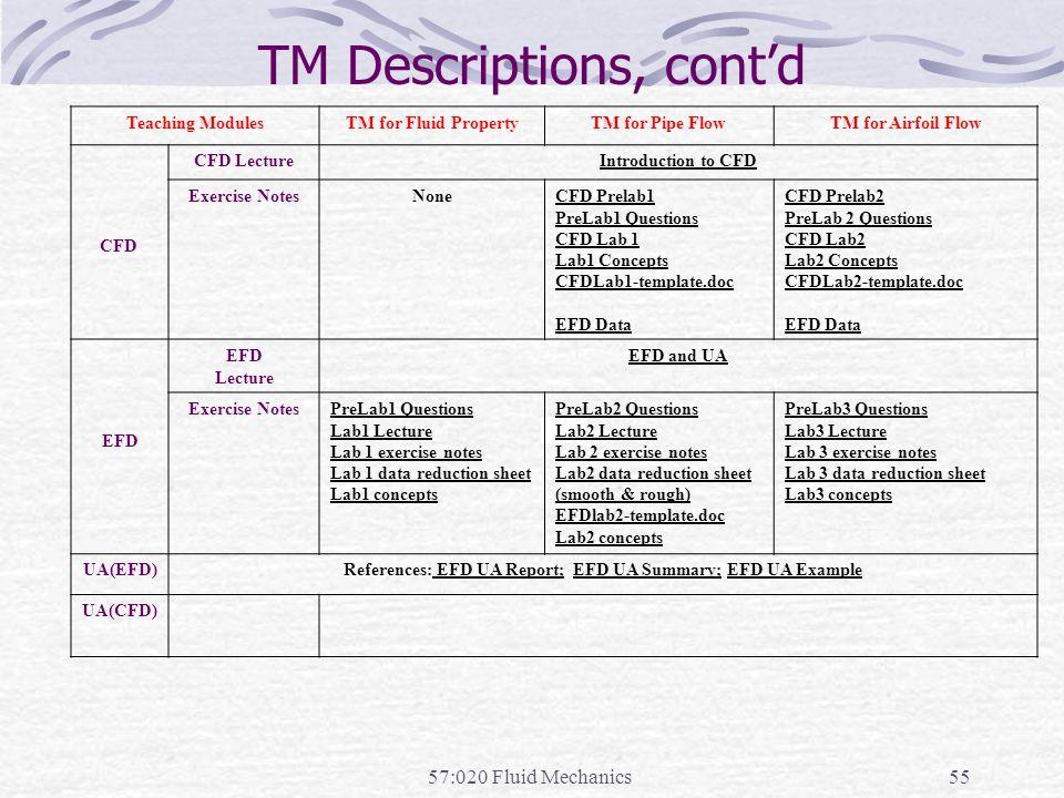 TM Descriptions, cont'd