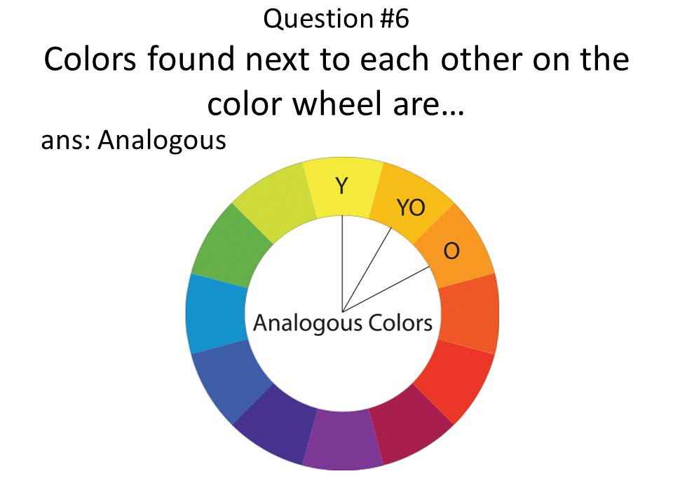 Question #6 Colors found next to each other on the color wheel are…