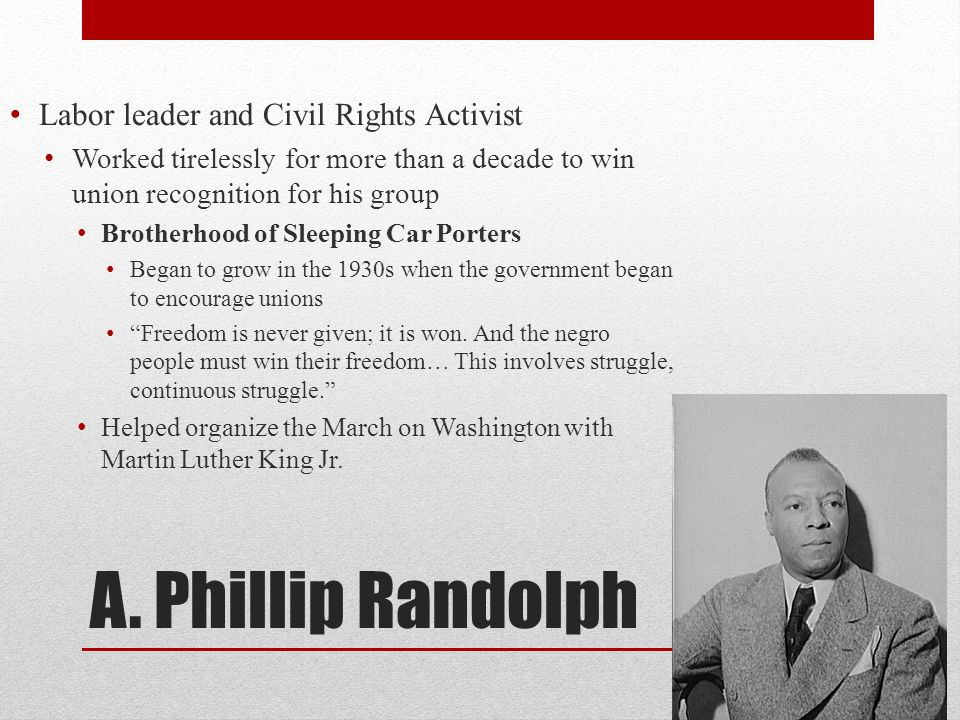 A. Phillip Randolph Labor leader and Civil Rights Activist