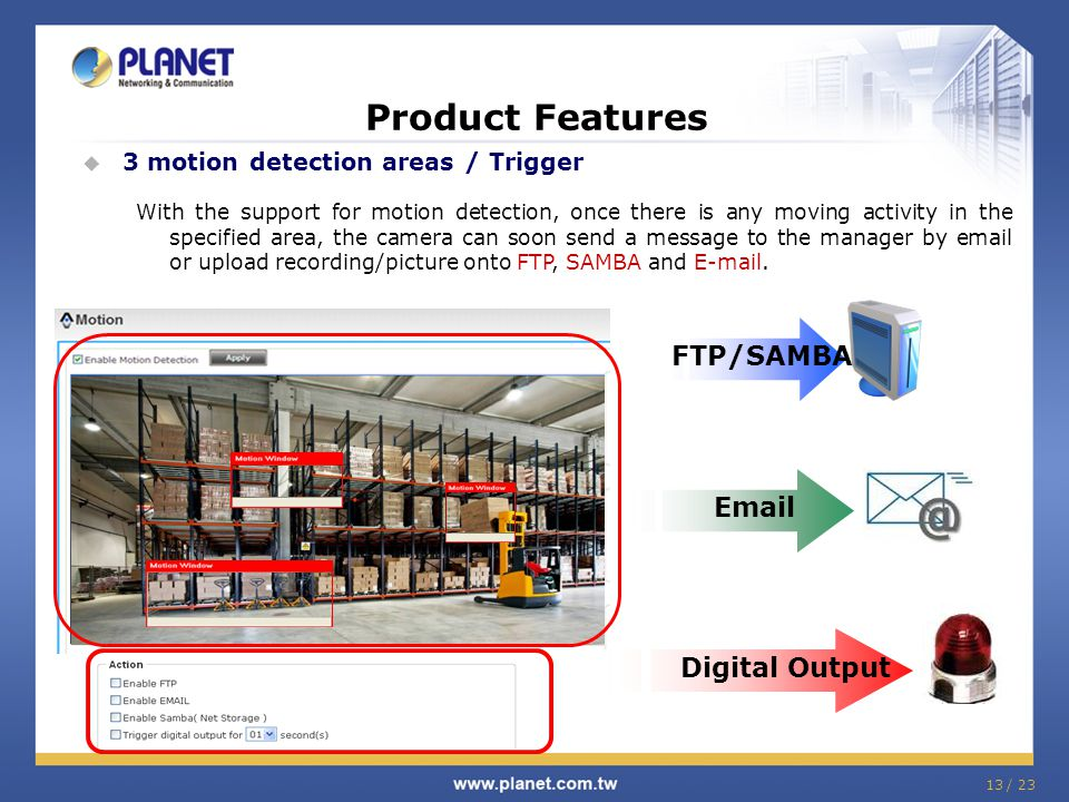 Product Features FTP/SAMBA Email Digital Output