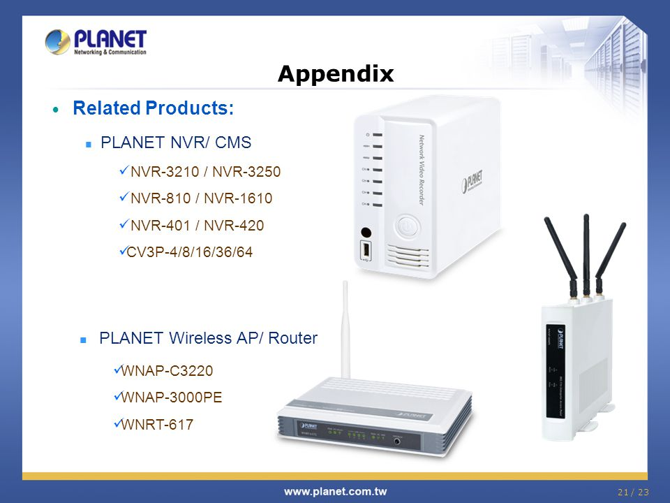 Appendix Related Products: PLANET Wireless AP/ Router PLANET NVR/ CMS