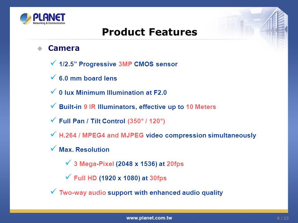 Product Features Camera 1/2.5 Progressive 3MP CMOS sensor
