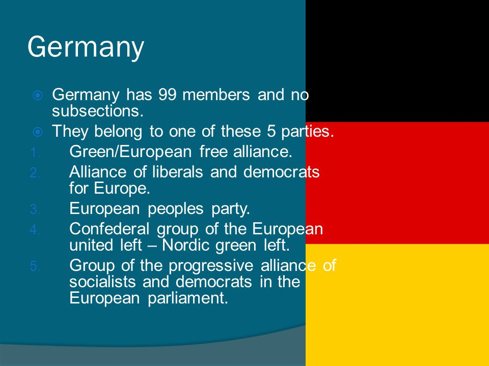 Germany Germany has 99 members and no subsections.