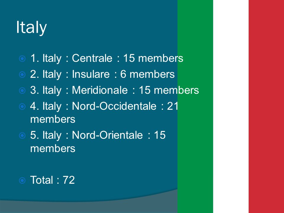 Italy 1. Italy : Centrale : 15 members 2. Italy : Insulare : 6 members